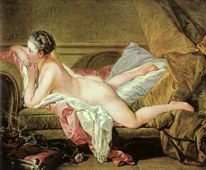 Rococo painting reproductions: Nude on a Sofa (or Reclining Girl)