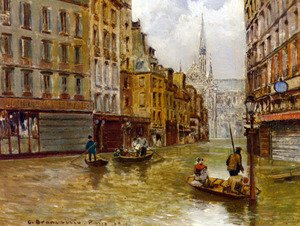 Famous paintings of Flood & High Tide: Street in Paris during Flood of 1910