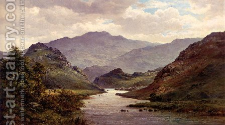 The River Colwyn, North Wales by Alfred de Breanski - Reproduction Oil Painting