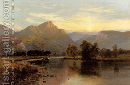 Tal-Y-Llyn, North Wales by Alfred de Breanski - Reproduction Oil Painting