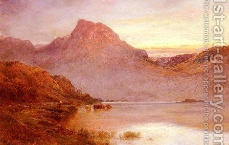 The Evening Glow, Near Arrochar, N.B. by Alfred de Breanski - Reproduction Oil Painting