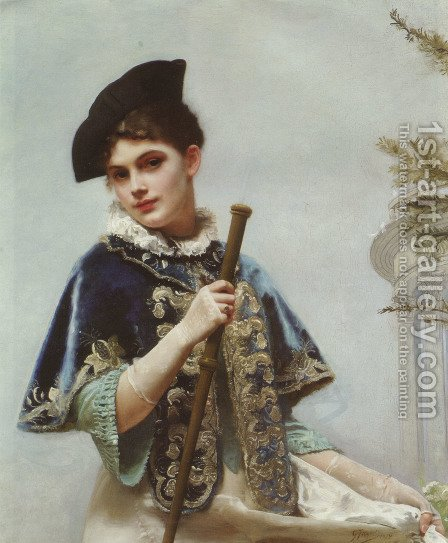 A Portrait of a Noble Lady by Gustave Jean Jacquet - Reproduction Oil Painting