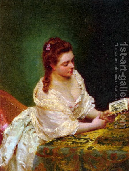 La Lettre (The Letter) by Gustave Jean Jacquet - Reproduction Oil Painting
