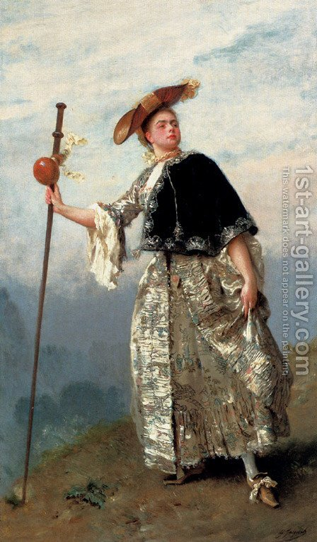 On The Hilltop by Gustave Jean Jacquet - Reproduction Oil Painting