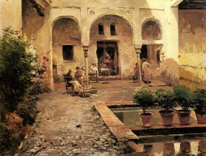 Famous paintings of Pools: Figures in a Spanish Courtyard