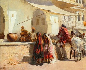 Famous paintings of Markets: A Street Market Scene, India