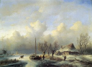 Famous paintings of Ice: Figures in a winter landscape