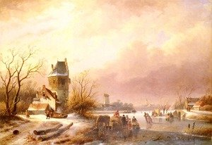 Famous paintings of Ice skating: Skaters On A Frozen River