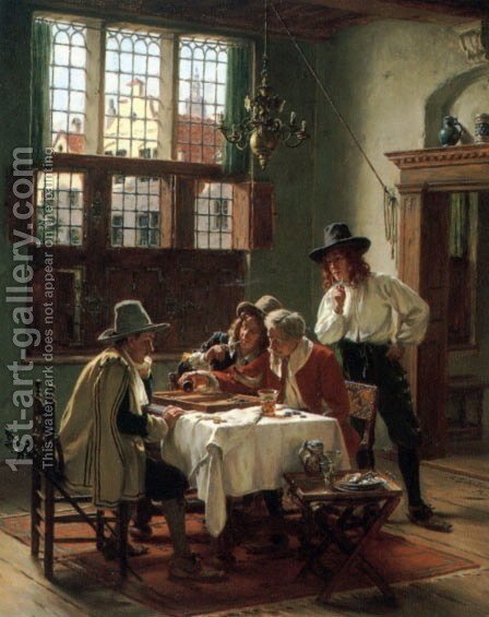 Die Backgammon-Spieler (or The Backgammon Player) by Albert Friedrich Schroder - Reproduction Oil Painting