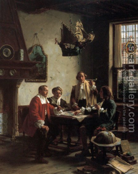 The Geographers by Albert Friedrich Schroder - Reproduction Oil Painting