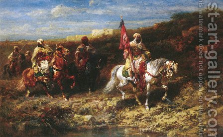 Arab Horseman In A Landscape by Adolf Schreyer - Reproduction Oil Painting