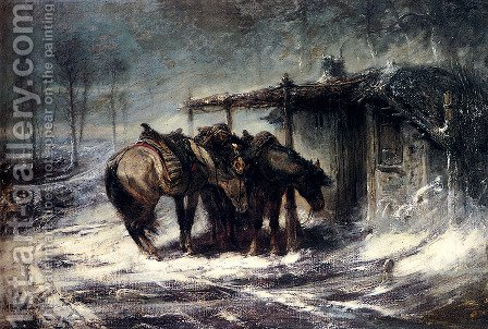 Wallachian Blizzard by Adolf Schreyer - Reproduction Oil Painting