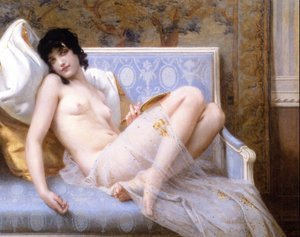 Academic Classicism painting reproductions: Jeune femme denudée sur canape (Young woman naked on a settee)