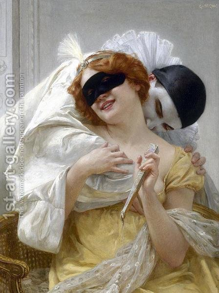 Pierrot's Embrace by Guillaume Seignac - Reproduction Oil Painting