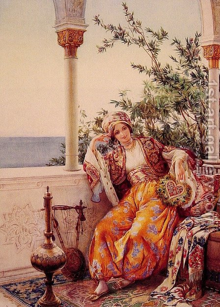 On the Balcony by Amedeo Momo Simonetti - Reproduction Oil Painting
