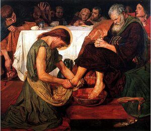Famous paintings of Christ: Jesus washing Peter's feet at the Last Supper