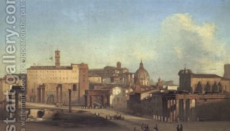 A View Of The Forum by Ippolito Caffi - Reproduction Oil Painting