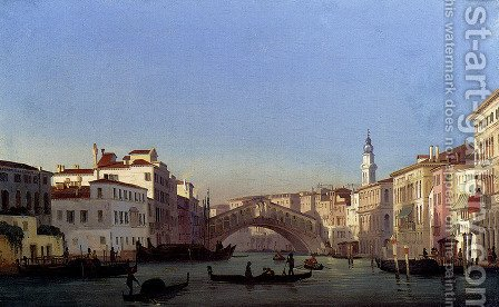 The Rialto Bridge, Venice by Ippolito Caffi - Reproduction Oil Painting