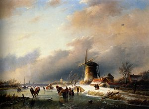 Famous paintings of Ice skating: Figures Skating on a Frozen River