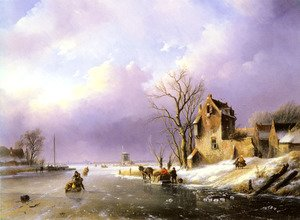 Famous paintings of Ice: Winter Landscape with Figures on a Frozen River