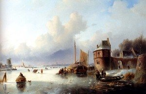 Famous paintings of Ice: A Winter Landscape With Numerous Skaters On A Frozen Waterway, Dordrecht In The Distance
