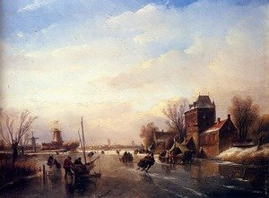 Famous paintings of Ice: Skaters on a Frozen River