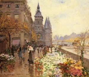 Famous paintings of Markets: A Flower Market Along the Seine