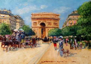 Famous paintings of Horses & Horse Riding: A Sunny Day In Paris