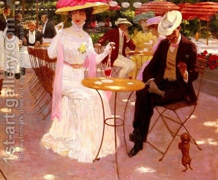 Au Cafe (At the Café) by Aime Stevens - Reproduction Oil Painting