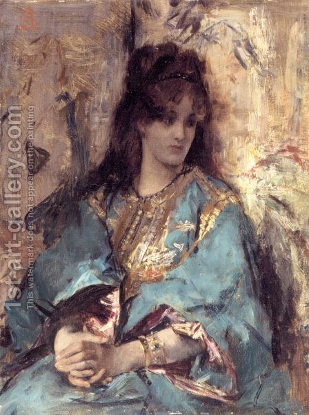 A Woman Seated in Oriental Dress by Alfred Stevens - Reproduction Oil Painting