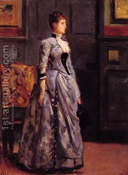 Portrait of a Woman in Blue by Alfred Stevens - Reproduction Oil Painting