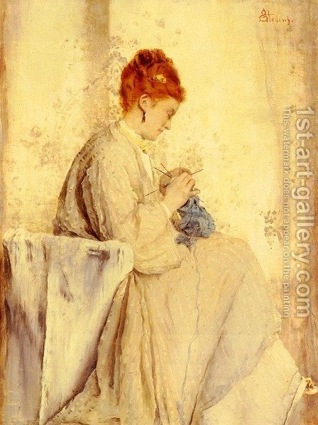 La Tricoteuse (The Knitter) by Alfred Stevens - Reproduction Oil Painting