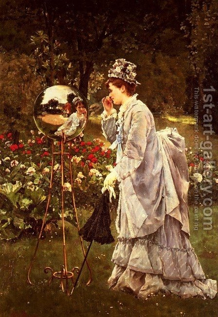 La Boule De Verre (The Glass Ball) by Alfred Stevens - Reproduction Oil Painting