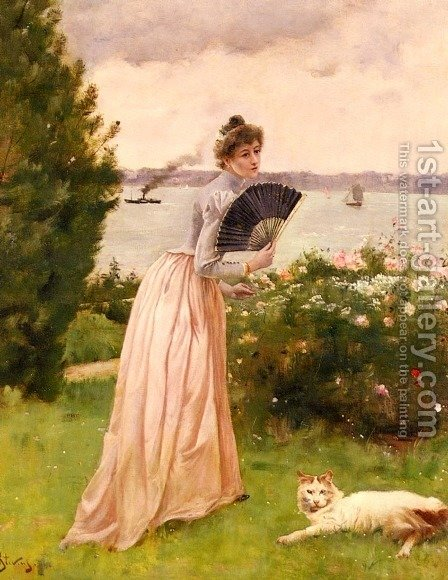 La Dame A L'Eventail (The Lady with the Fan) by Alfred Stevens - Reproduction Oil Painting
