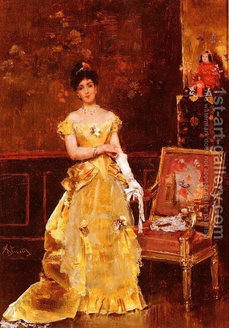 Preparing For The Ball by Alfred Stevens - Reproduction Oil Painting