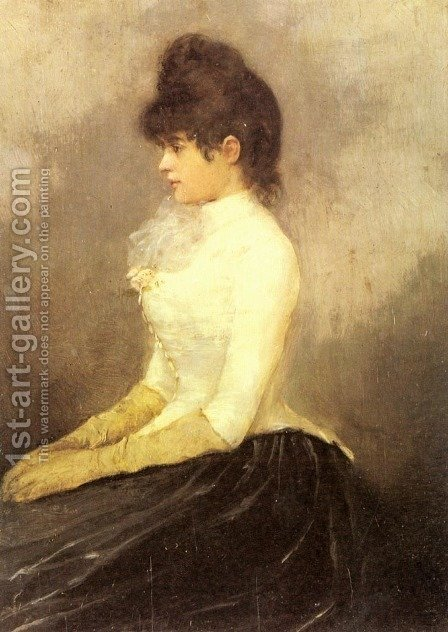 The Baroness von Munchhausen by Alfred Stevens - Reproduction Oil Painting
