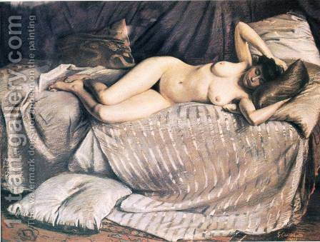 Femme Nue Etendue Sur Un Divan (Naked Woman Lying on a Couch) by Gustave Caillebotte - Reproduction Oil Painting