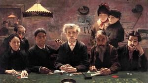 Famous paintings of Card Games: Le Tripot (The Gambling Den)