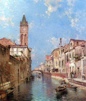 Famous paintings of Ships & Boats: Rio St. Barnaba, Venice
