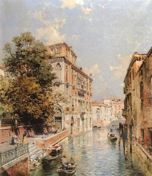 Famous paintings of Ships & Boats: A View in Venice, Rio S. Marina