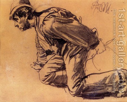 Study Of A Laboror by Adolph von Menzel - Reproduction Oil Painting