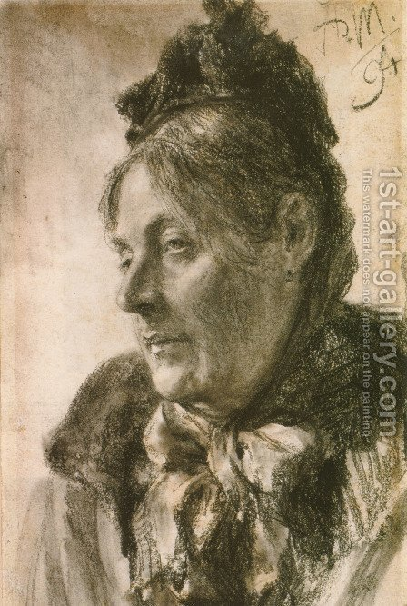 The Head of a Woman by Adolph von Menzel - Reproduction Oil Painting