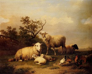 Famous paintings of Clouds & Skyscapes: Sheep With Resting Lambs And Poultry In A Landscape