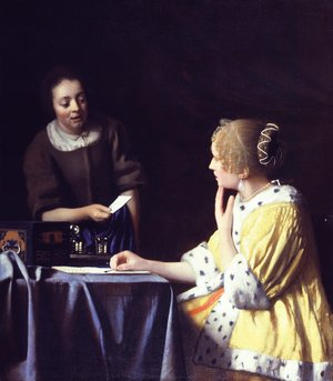 Reproduction oil paintings - Jan Vermeer Van Delft - Lady with Her Maidservant Holding a Letter