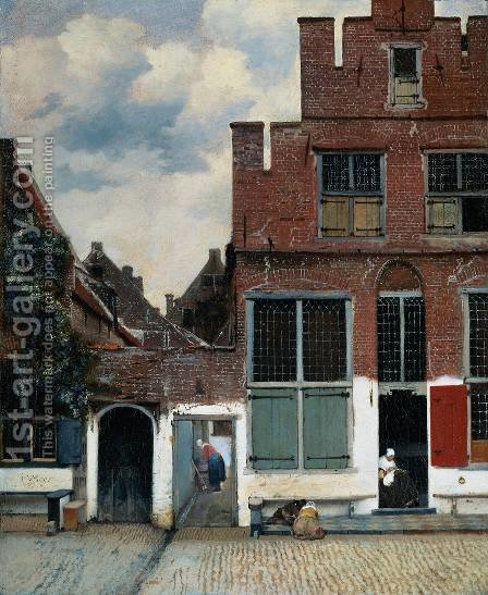 View of Houses in Delft, known as 'The Little Street' by Jan Vermeer Van Delft - Reproduction Oil Painting