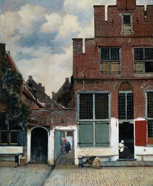 Reproduction oil paintings - Jan Vermeer Van Delft - View of Houses in Delft, known as 'The Little Street'