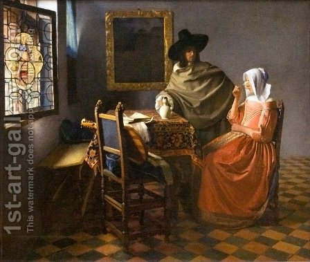 Jan Vermeer Van Delft: The Glass Of Wine - reproduction oil painting