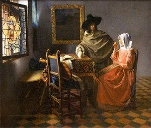 Reproduction oil paintings - Jan Vermeer Van Delft - The Glass Of Wine