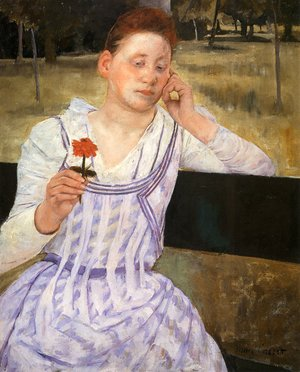 Reproduction oil paintings - Mary Cassatt - Woman With A Red Zinnia