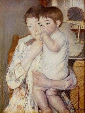 Reproduction oil paintings - Mary Cassatt - Baby in His Mother's Arms, Sucking His Finger